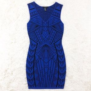 Forever 21 blue Aztec bodycon dress size small